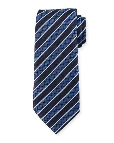 Textured Grand Striped Silk Tie