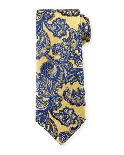 Floral Vine-Print Silk Tie