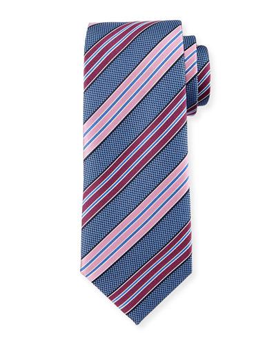 Bold-Striped Textured Silk Tie