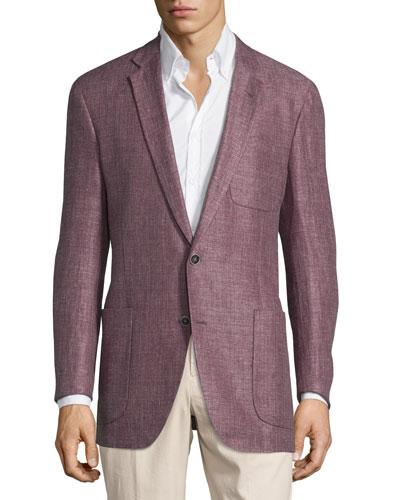 Two-Button Linen Sport Coat, Plum