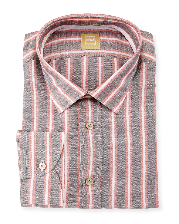 Striped Dress Shirt, Beige