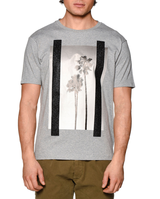 Palm Tree Graphic Short-Sleeve Melange T-Shirt, Gray Multi