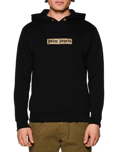 Sequin-Logo Hooded Sweatshirt, Black/Gold