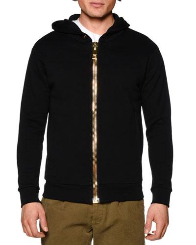Oversized-Puller Zip-Up Hoodie, Black
