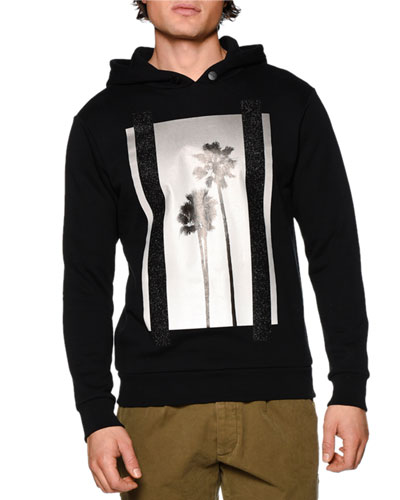 Palms Hooded Sweatshirt, Black Multi