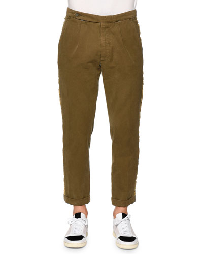 Classic Washed Trousers with Side-Stripe, Military Green