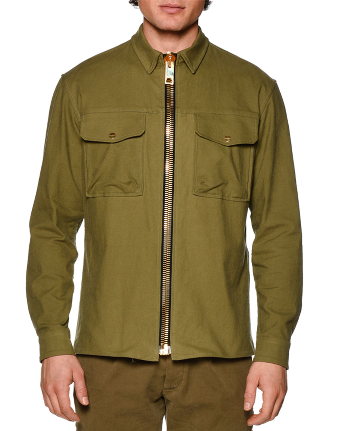Maxi Zip-Up Military Jacket, Military Green