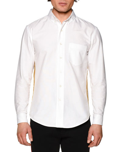 Honor Oxford Shirt w/Metallic Stripe, White Gold