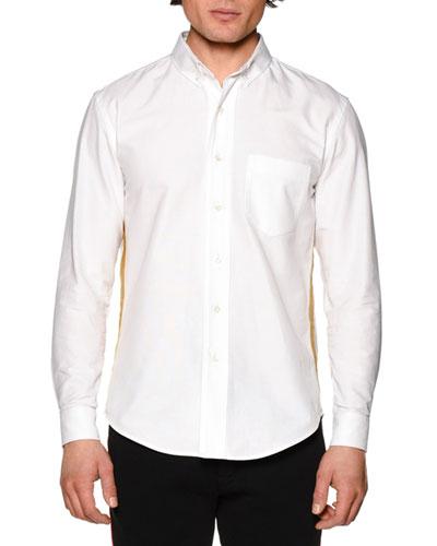 Honor Oxford Shirt w/Metallic Stripe, White Gold