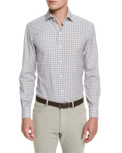 Check Long-Sleeve Sport Shirt, Blue Pattern