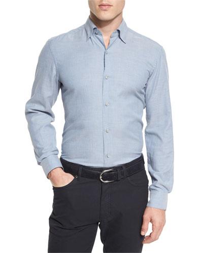 Flannel Long-Sleeve Sport Shirt, Light Blue