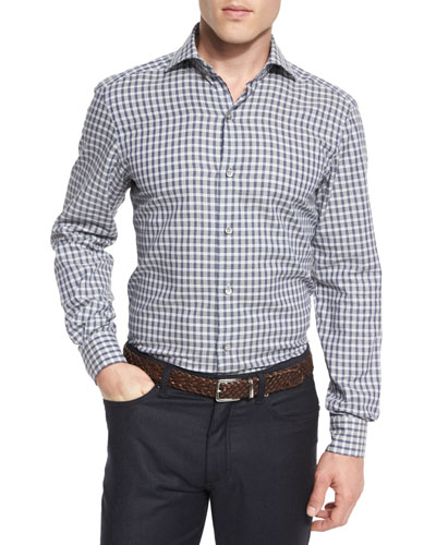 Grid-Check Long-Sleeve Sport Shirt, Blue Pattern