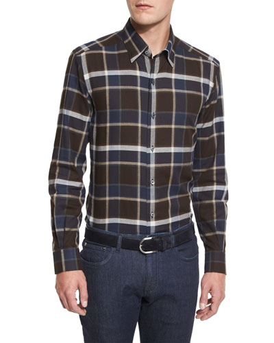 Large-Plaid Long-Sleeve Sport Shirt, Brown Pattern