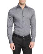 Ermenegildo Zegna Floral-Print Long-Sleeve Sport Shirt,