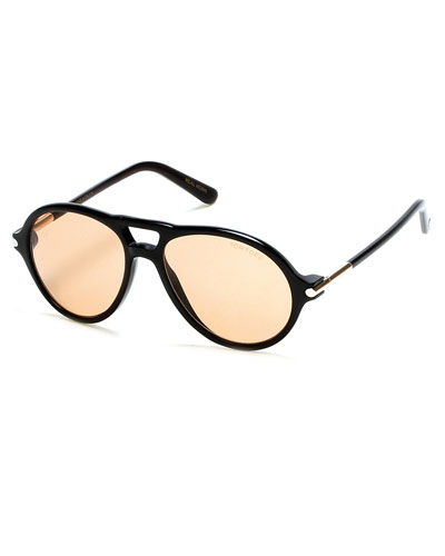 Tom N.10 Private Collection Horn Aviator Sunglasses, Black
