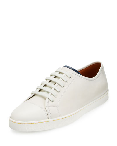 Levah Leather Low-Top Sneaker, White