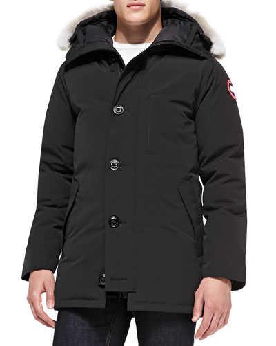 Chateau Arctic-Tech Parka with Fur Hood, Black