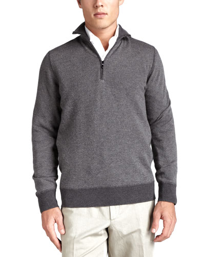 Roadster Half-Zip Cashmere Sweater, Gray
