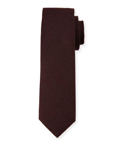 Melange Wool-Blend Tie, Burgundy