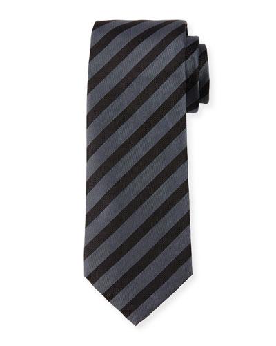 Diagonal-Stripe Silk Tie, Grey/Black