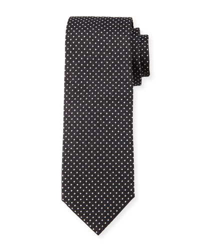 Pindot Silk Tie, Charcoal