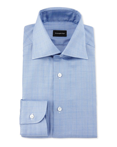 Tonal Box-Check Dress Shirt, Blue