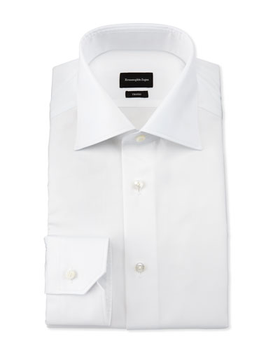 Slim-Fit Solid Trofeo Dress Shirt, White