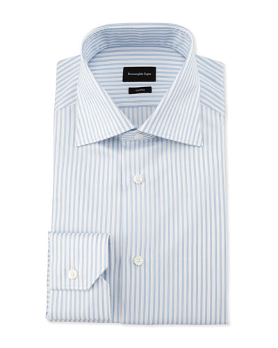 Slim-Fit Striped Trofeo Dress Shirt, White