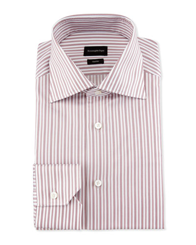 Slim-Fit Striped Trofeo Dress Shirt, Pink
