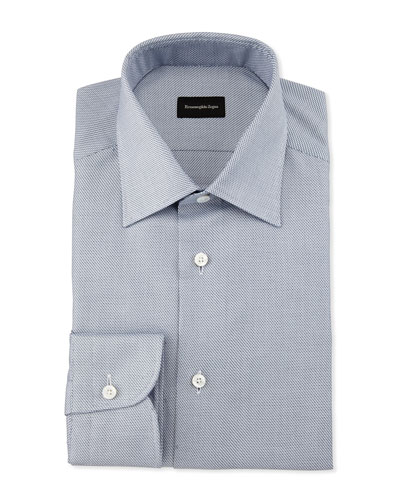 Textured Stair-Step Dress Shirt, Navy