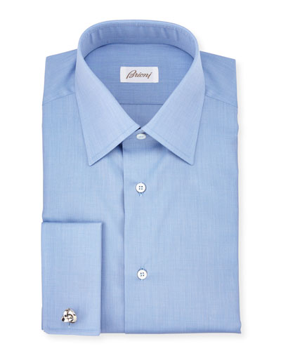 End-on-End French-Cuff Dress Shirt, Blue