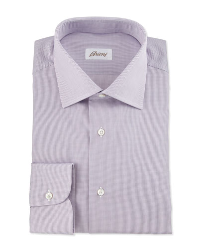 Micro-Check Dress Shirt, Burgundy