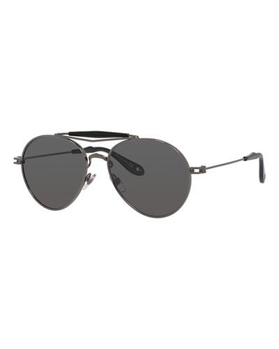 Metal Polarized Aviator Sunglasses, Grey