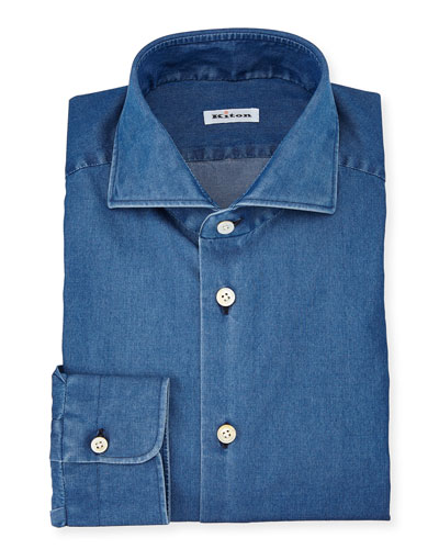 Long-Sleeve Denim Dress Shirt