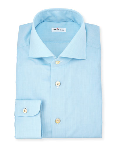 Solid Poplin Dress Shirt, Aqua