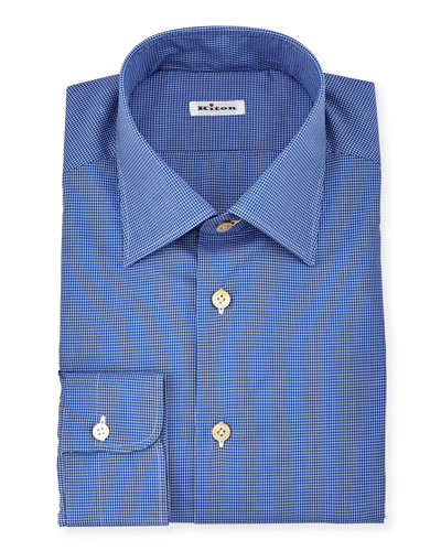 Saturated Micro-Check Long-Sleeve Dress Shirt, Navy