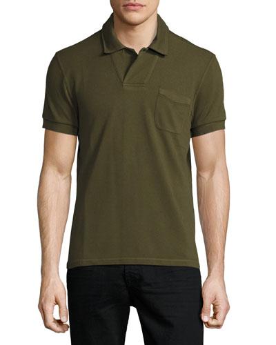 Short-Sleeve Polo Shirt, Olive