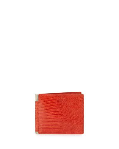 Lizard & Leather Bi-fold Wallet W/Money Clip, Orange