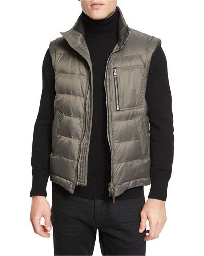 Zip-Pocket Quilted Down Vest, Petrol