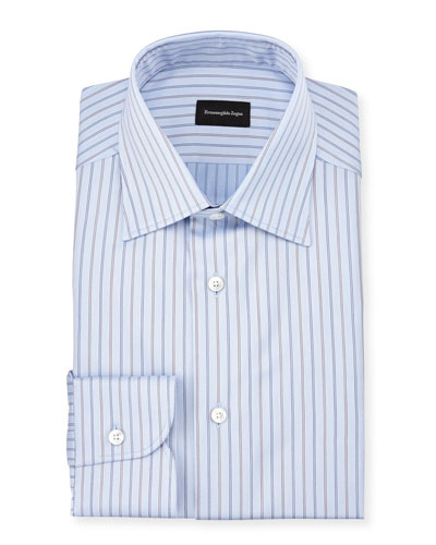 Striped Twill Long-Sleeve Dress Shirt, Light Blue