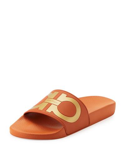 Gancini Slide Sandal, Orange
