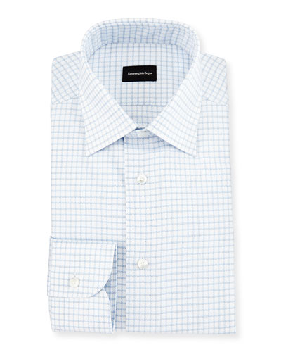 Box Check Twill Dress Shirt, White