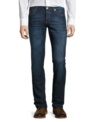 Slim-Fit Dark Wash Denim Jeans, Dark Blue