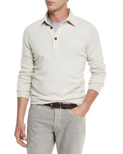 Solomeo Wool-Blend Polo Sweater, Gravel