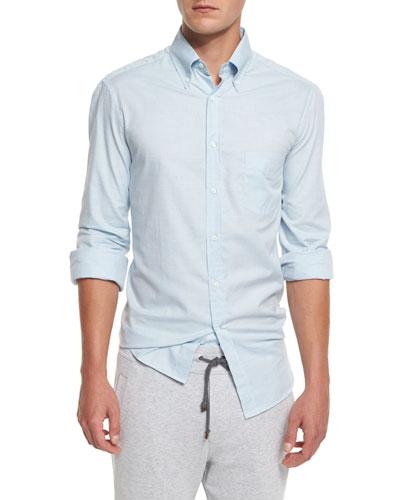 Solid Twill Long-Sleeve Sport Shirt, Powder Blue