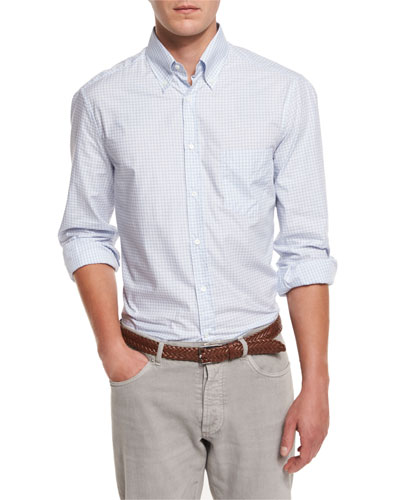 Twill Check Long-Sleeve Sport Shirt, Light Blue