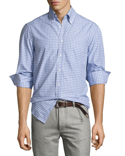 Twill Multi-Check Shirt, Blue