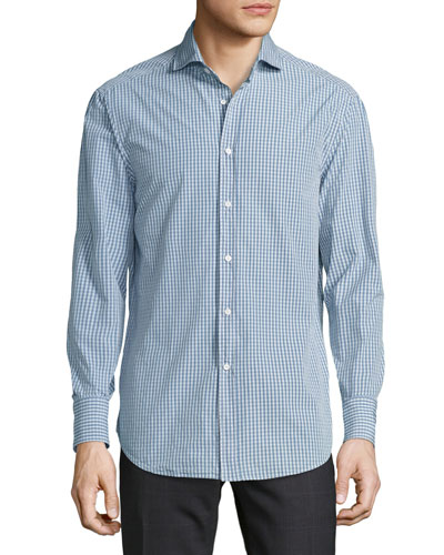 Check Woven Sport Shirt, Medium Blue