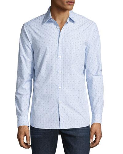 Watson Diamond-Print Mouline Long-Sleeve Sport Shirt