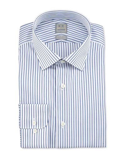 Textured Stripe Dress Shirt, Blue
